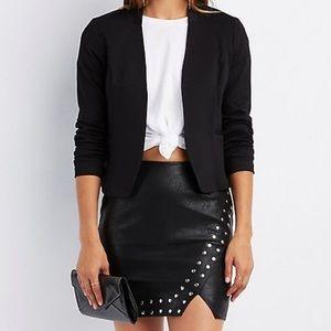 Collarless black blazer